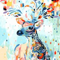 Tinymills Colored fawn DIY Oil Painting Drawing Paint by Number Kit Handcraft for Wall Hanging Decoration - Framed