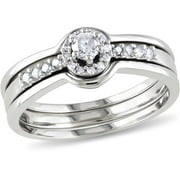 Miabella 1/4 Carat T.W. Round Diamond 3-Piece Bridal Set in Sterling Silver