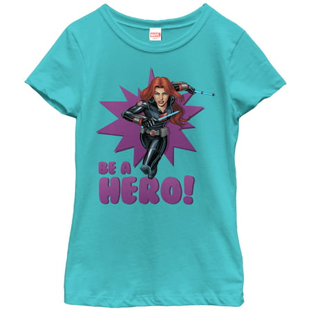 Marvel Girls' Black Widow Be a Hero T-Shirt - Marvel Heroes Womens