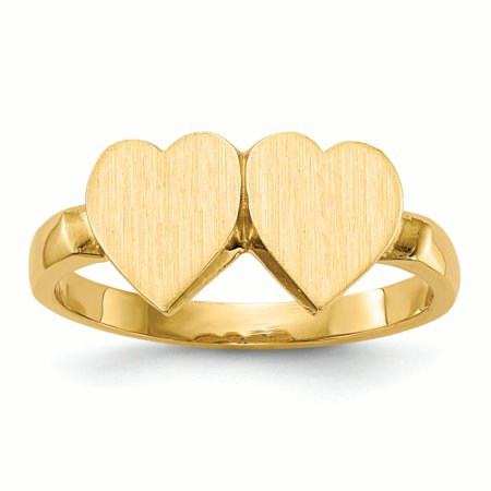 14K Yellow Gold 2 MM Double Heart Engravable Signet Ring, Size 6