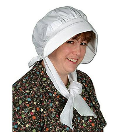 Beistle Puritan Pilgrim Pioneer Woman Bonnet White - Pilgrim Bonnet