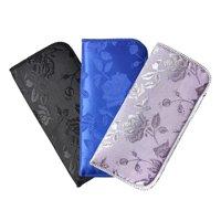 3 Pack Soft Slip In Eyeglass Case For Women- Floral Brocade, Blue/Silver/Fuchsia