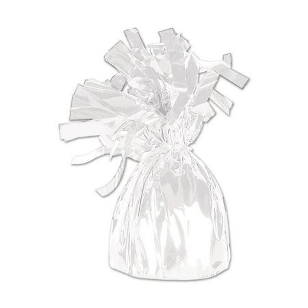 (12ct) Metallic Wrapped Balloon Weight white
