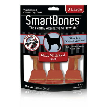SmartBones Beef Flavor Rawhide-Free Dog Bones and Chews, Large 3-Count