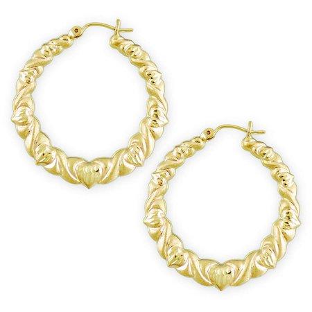 - 10K Gold Round XO Hoop Earrings Dia-Cut Hearts 1 3/8 inch.
