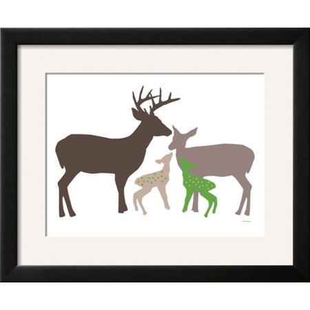 Avalisa Green - Green Deer Framed Art Print Wall Art  By Avalisa - 22x18