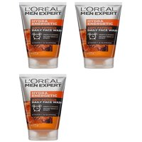 L'Oreal Men's Expert Hydra Energetic Anti Fatigue Daily Face Wash, 150 ml (5.07 Oz) (Pack of 3) + Cat Line Makeup Tutorial