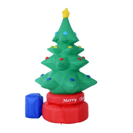 homcom 7 ft tall outdoor animated airblown inflatable christmas lawn decoration rotating christmas tree - Walmart Christmas Lawn Decorations