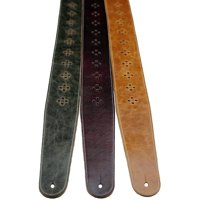 """Perri's 2.5"""" Distressed Leather Guitar Strap with Perforated Vents and Soft Leather Back Tan"""