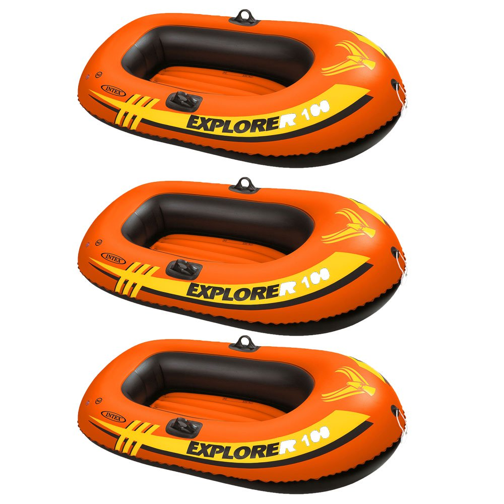 Intex Explorer 100 1 Person Youth Inflatable Water Raft Row Boat Orange (3 Pack)