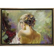 Startonight Bronze Luxury Framed Canvas Wall Art Sexy Back of a Woman Dual View Surprise Illuminated Sensual Artwork 5 Stars Gift 19.69 x 27.56 inch