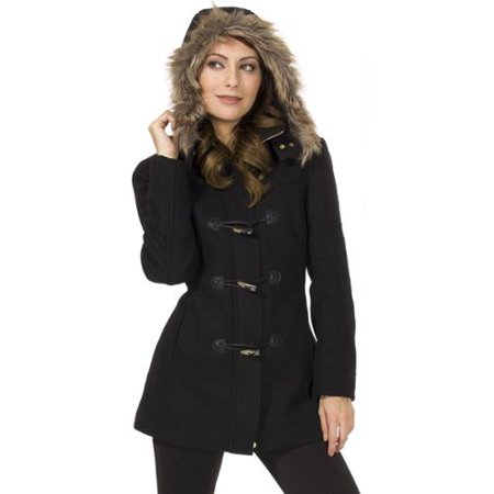 Alpine Swiss Duffy Women's Hooded Parka Fur Trim Wool Coat Toggle Button Jacket Black XL by