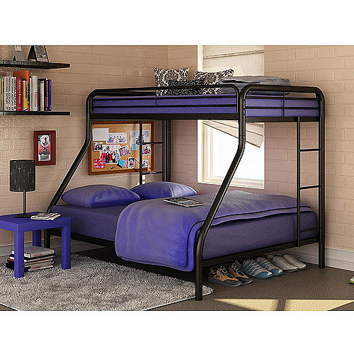 Dorel Twin Over Full Silver Metal Bunk Bed with Set of 2