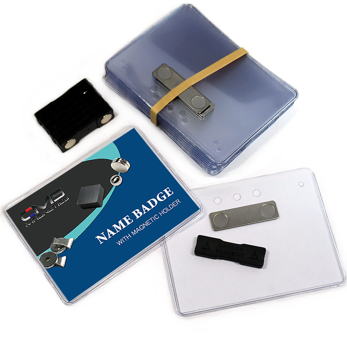 "12 Complete Sets CMS Magnetics® 3""x4"" Side Loading 2Mag-2 Neodymium Magnetic Name Badges"