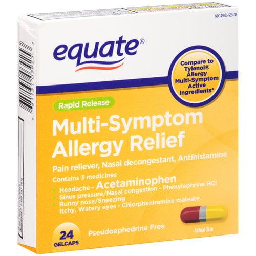Equate Rapid Release Multi-Symptom Allergy Relief Gelcaps, 24 count