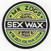 "Mr. Zoggs SEX WAX STICKER 7"" CIRCULAR FADE GREEN"