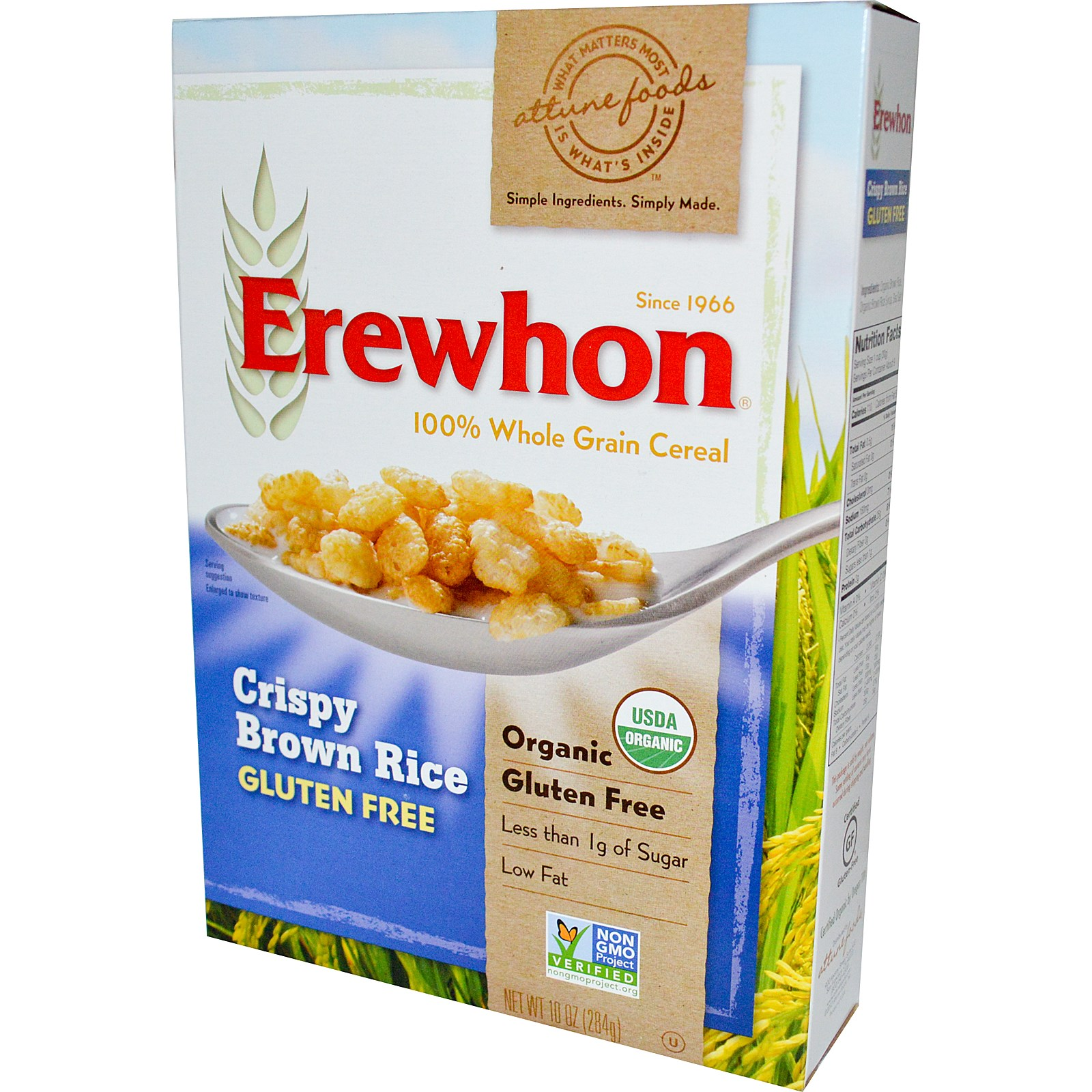 Erewhon Crispy Brown Rice Cereal, Gluten Free, Organic, 10 Oz