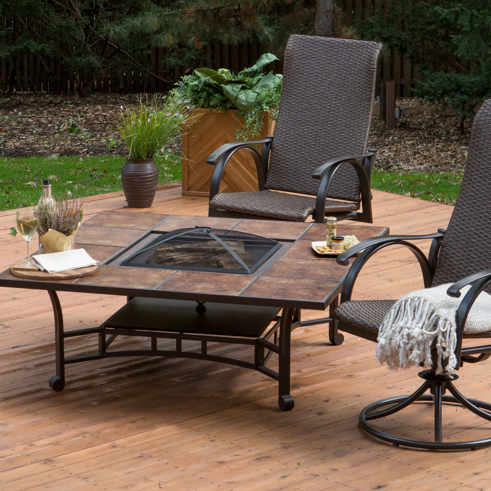Red Ember Wheatland 50 in. Outdoor Square Tile Convertible Fire Pit Table with FREE Cover