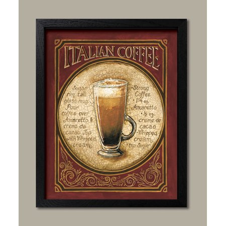 Framed Italian Coffee - Classy Beer Ad Popular Sign Recipe Drink Retro Bar Alcohol Painting 11x14 (Halloween Drink Recipes Alcohol)