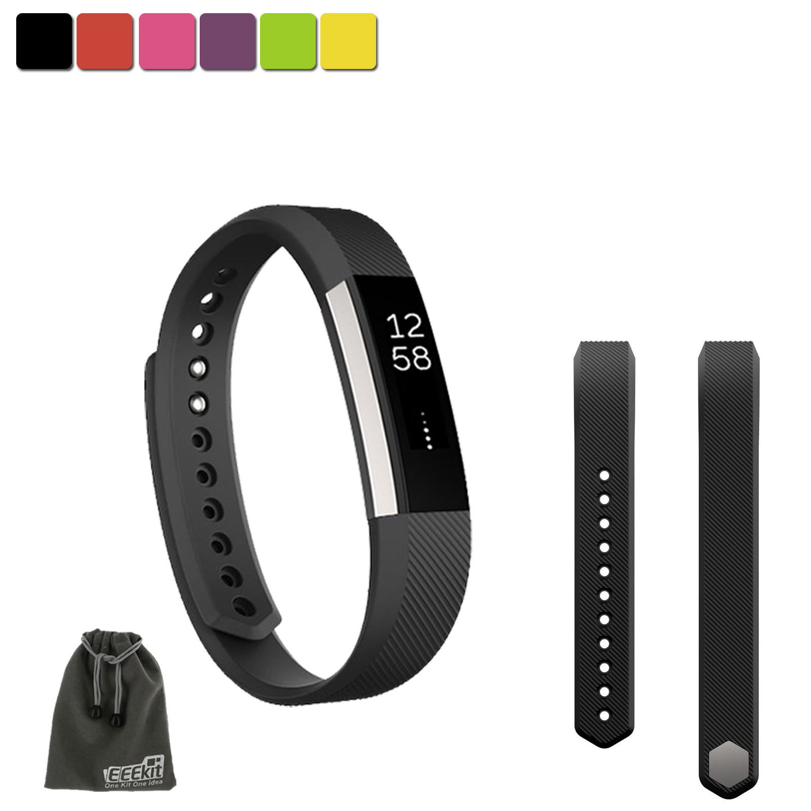 EEEKit SMALL S Size Silicone Replacement Sports Watch Wrist Band Strap w/ Clasp for Fitbit Alta(Black)