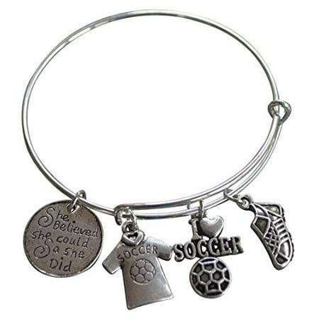 Soccer Bracelet- Girls Soccer Jewelry - Soccer Bangle- She Believed She Could So She Did Bracelet, Perfect Gift for Soccer Player, Soccer Team and Soccer Coaches