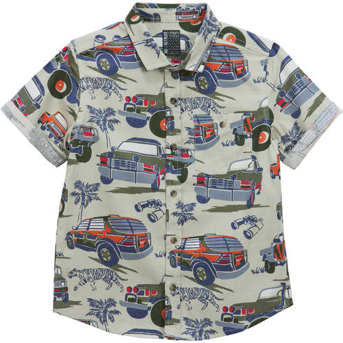VARIETY TODDLER BOYS NO RETREAT SHORT SLEEVE BUTTON FRONT WOVEN SHIRT NEW