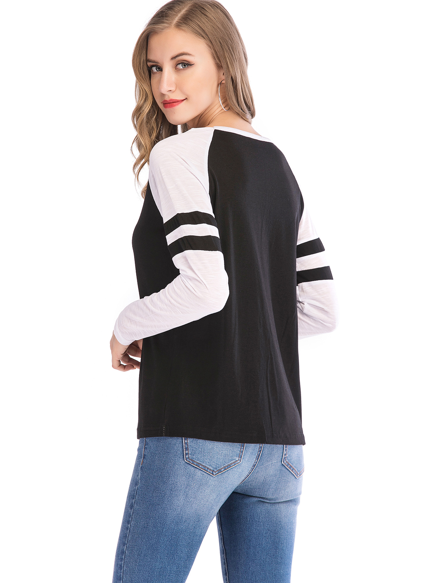 4b0f9970 SAYFUT - SAYFUT Round Neck Blouses T-Shirts for Women Long Sleeve Pullover Tops  Casual Shirts Black/Blue/Pueplr Size S-5XL - Walmart.com