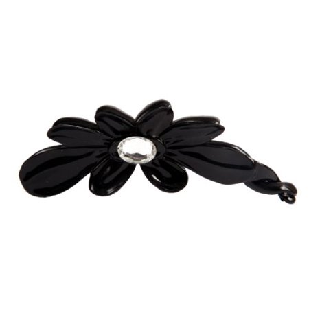 Caravan Hand Decorated French Flower Banana with Large Swarovski Oval Crystal Stone Double Sided, Black, .65 Ounce ()