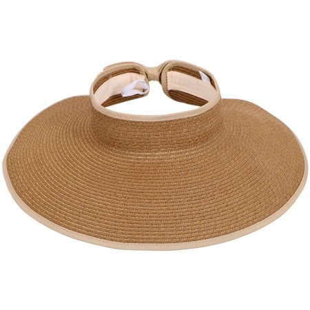 ead371e5 Simplicity - Women's Wide Brim Roll-up Straw Hat Sun Visor Light Coffee -  Walmart.com