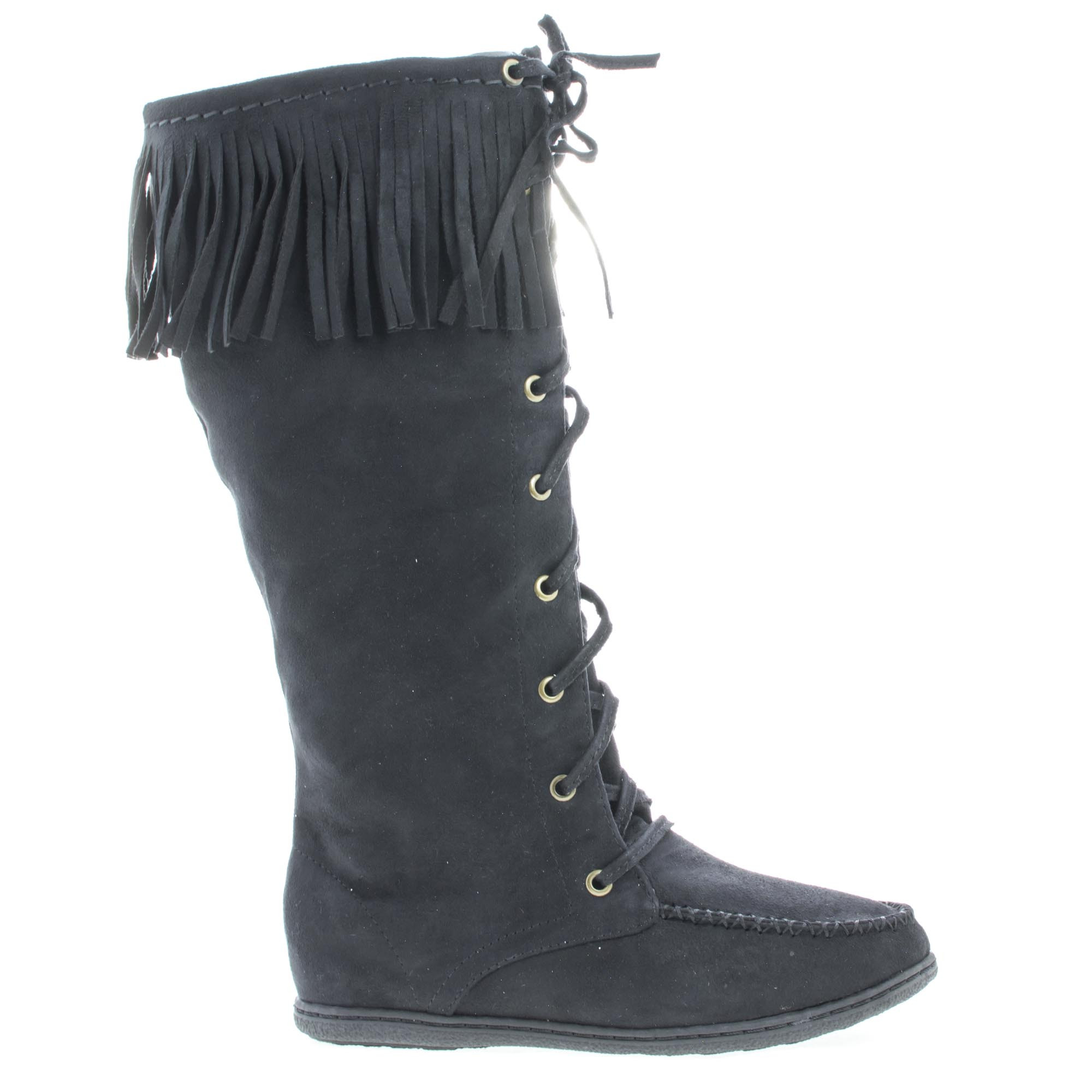 Vinery by Soda, Knee High Fringe Lace Up Moccasin Flat Boots