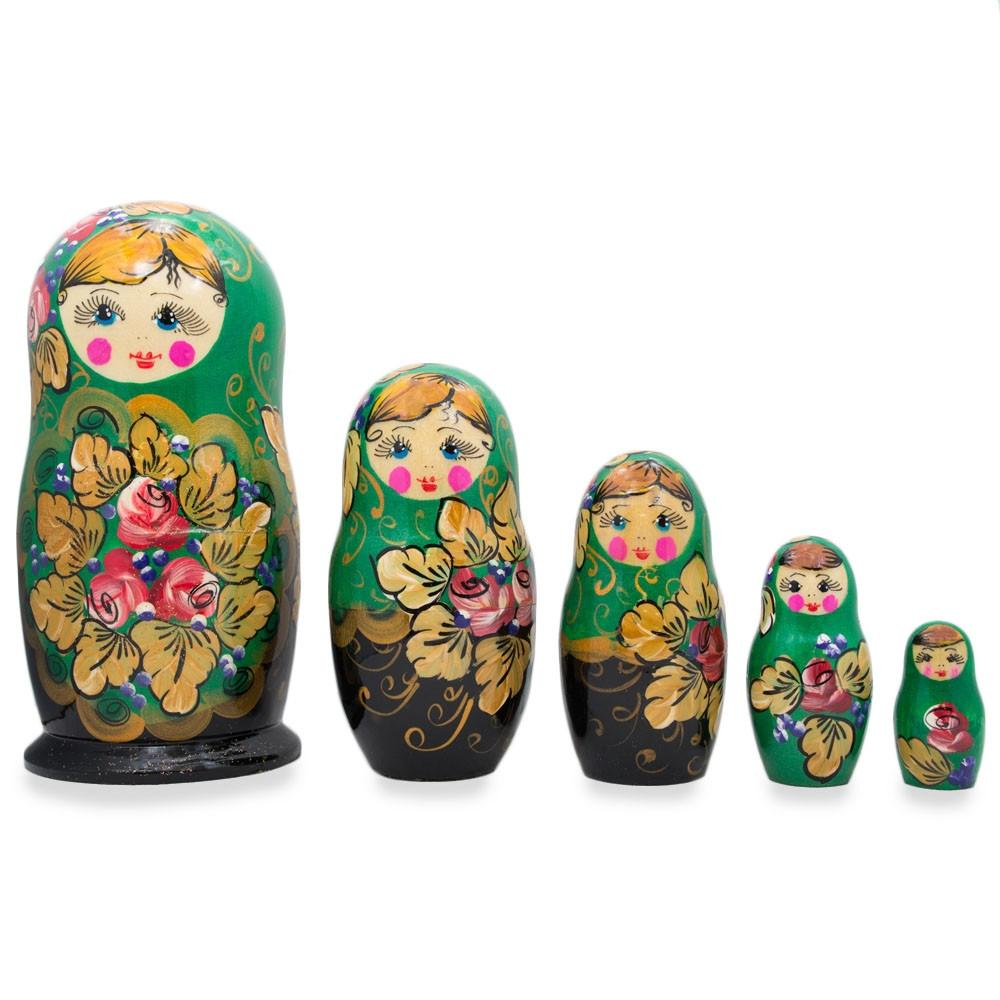 "6"" Set of 5 Floral Green and Black Wooden Matryoshka Russian Nesting Dolls"