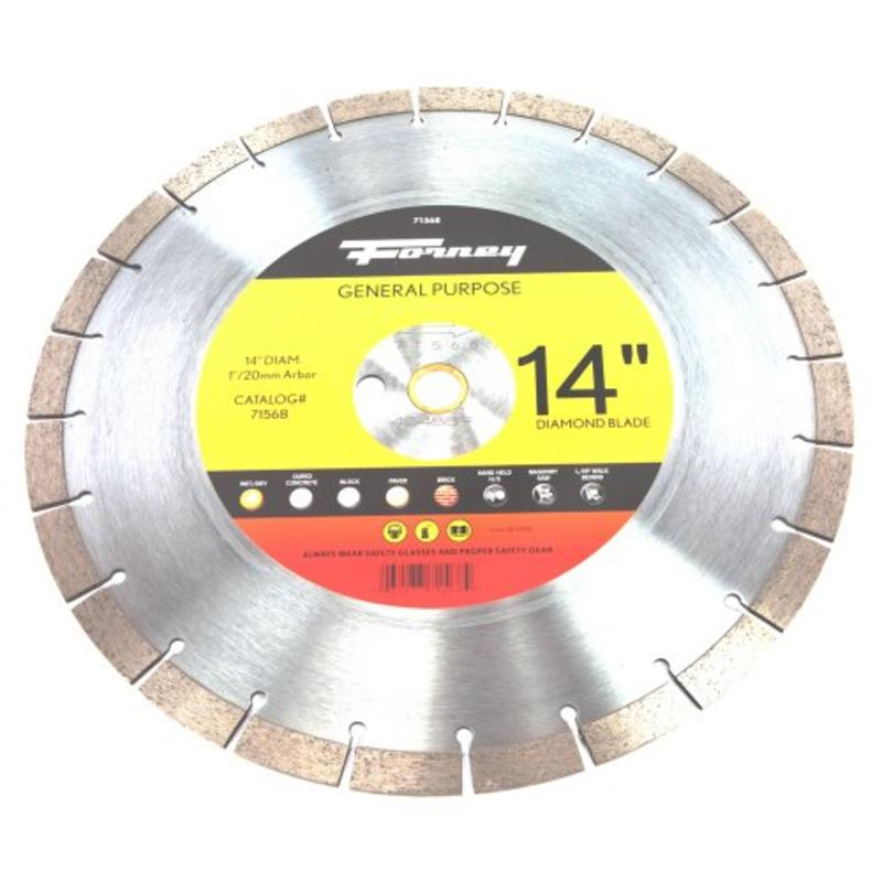 """Forney Diamond Contractor Blade W/1"""" Arbor With 20Mm Adap..."""