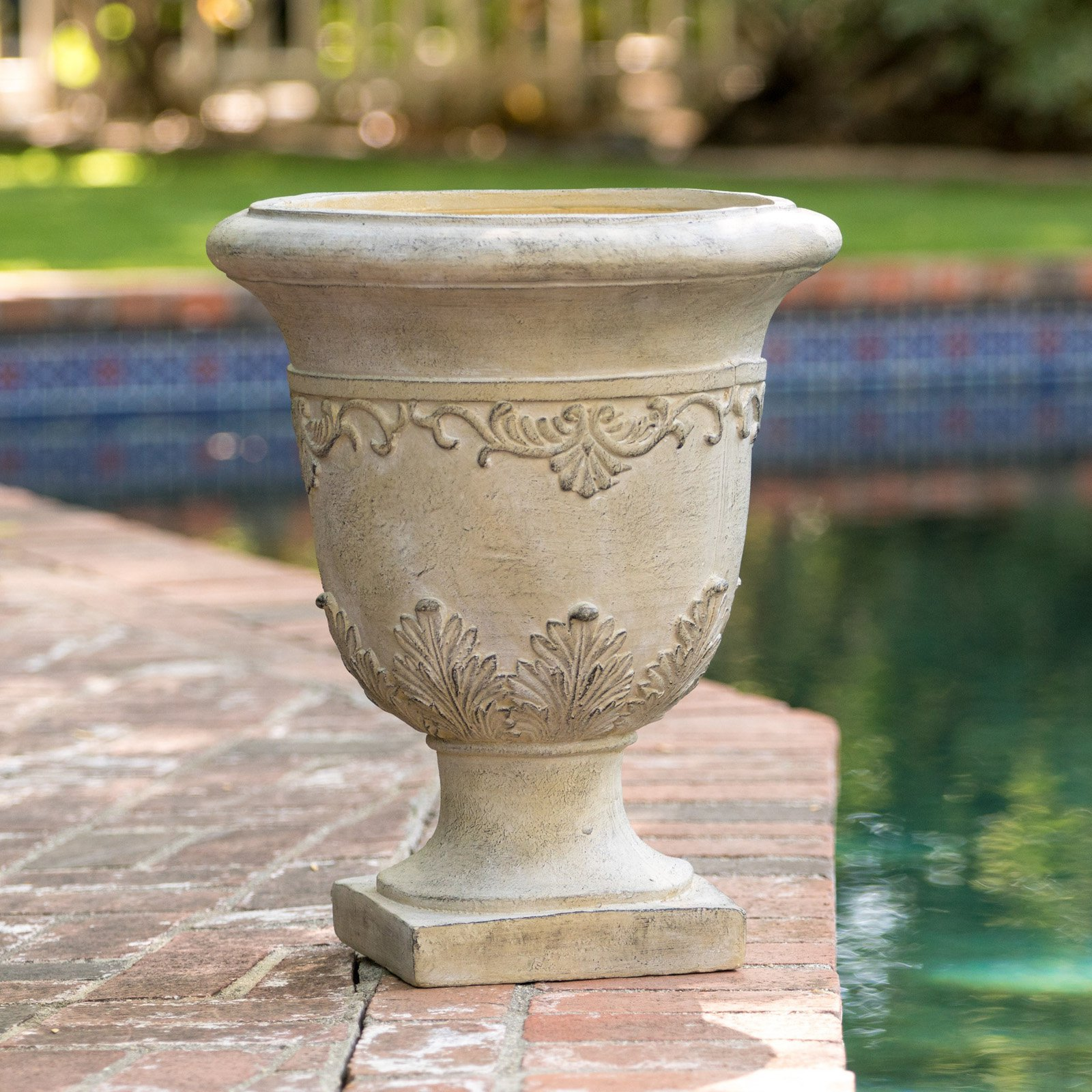 James 20 in. Antique Stone Urn Planter by Best Selling Home Decor Furniture LLC