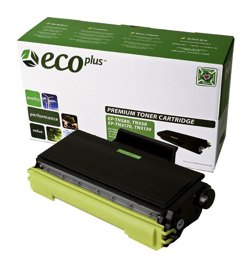 ECOPlus ™ Remanufactured Toner Cartridge for Brother TN550, TN580 (Premium Quality TONER CTG, BLACK, 7K HIGH YIELD)
