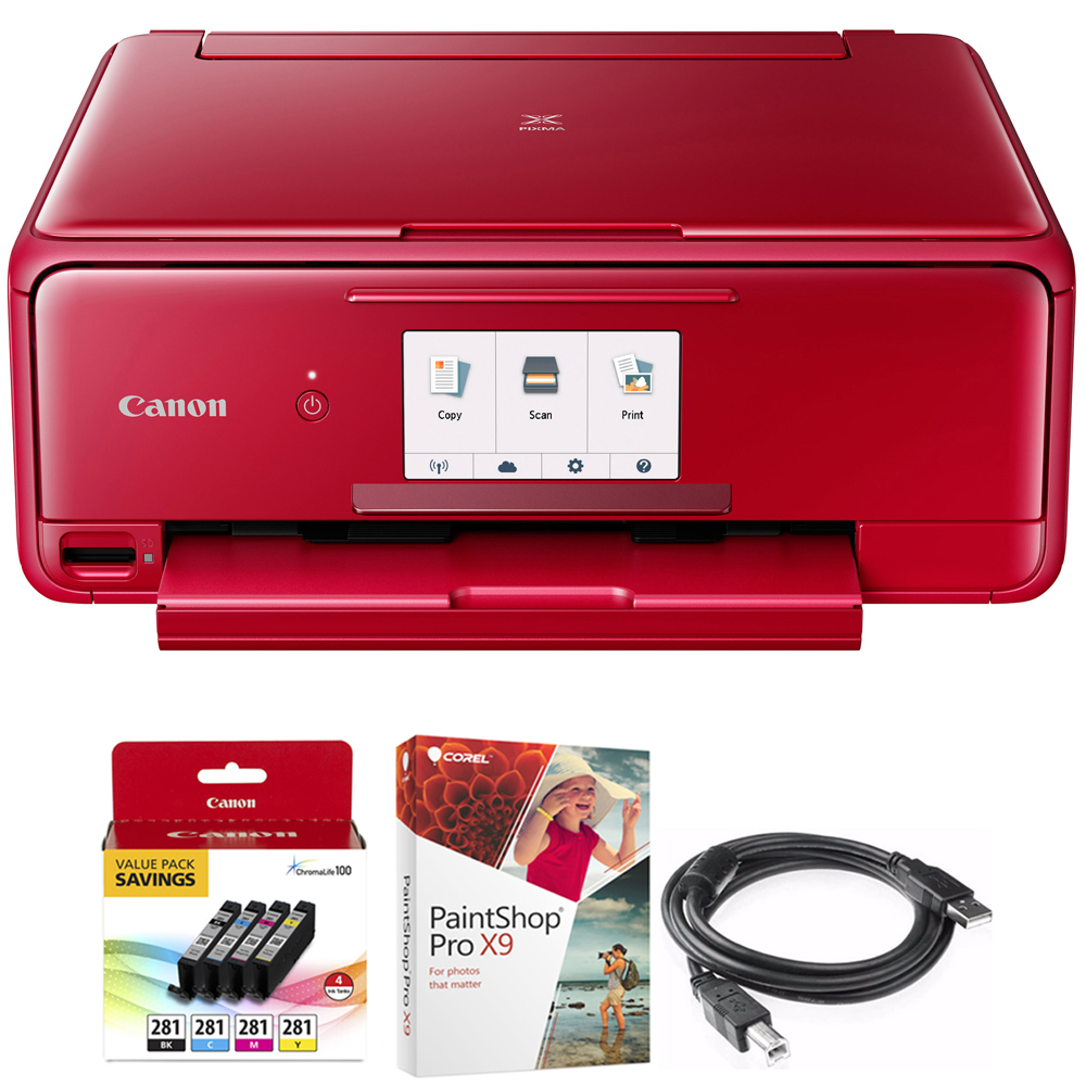 Canon PIXMA TS8120 Wireless Inkjet All-in-One Printer with Scanner & Copier Red (2230C042) 4-Color Ink Tank Value Pack + Black Ink Tank, Corel Paint Shop Pro X9 & 6-foot USB Printer Cable