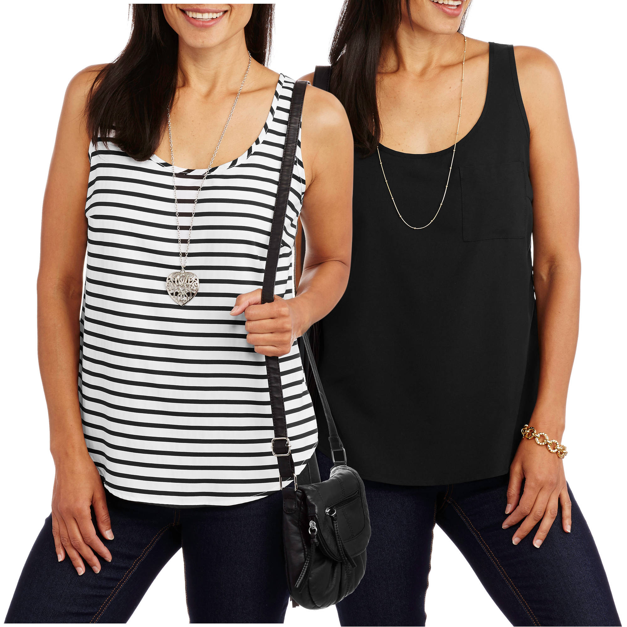Faded Glory Women's Woven Tank, 2-Pack