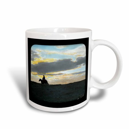 - 3dRose Indian Rider in Sunset Horizon in the American Southwest, Ceramic Mug, 15-ounce