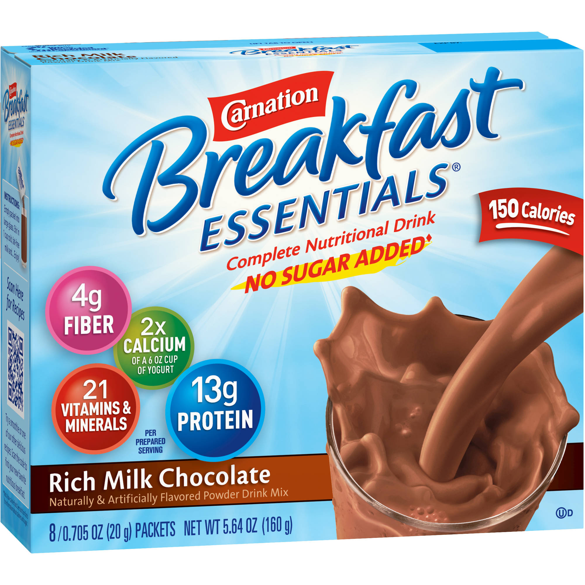 Carnation Breakfast Essentials® No Sugar Added Rich Milk Chocolate Complete Nutritional Drink Mix, 0.705 oz, 8 count