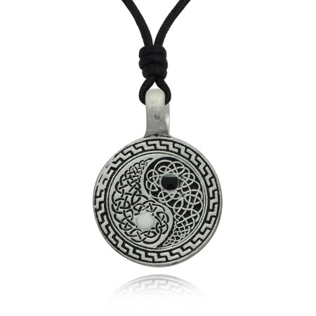 Ying Yang Celtic Design Silver Pewter Charm Necklace Pendant Jewelry With Cotton Cord
