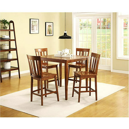 Mainstays 5 piece counter height dining set warm cherry for Dining room tables 38 inches wide