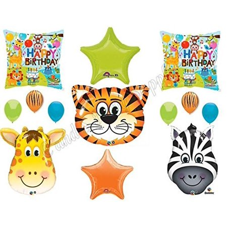 TIGER ZEBRA GIRAFFE Birthday Party Balloons Decoration Supplies Safari Jungle (Jungle Birthday Supplies)