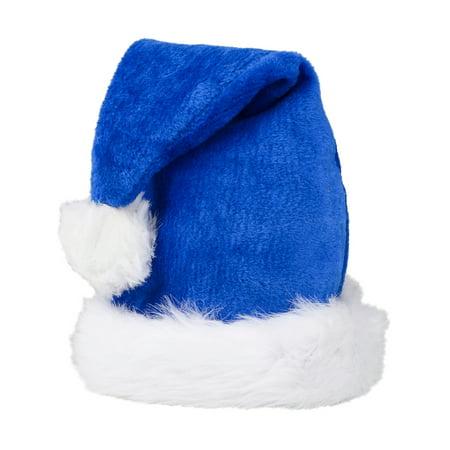 Christmas Blue Plush Faux Fur Trim Santa Hat Costume Accessory