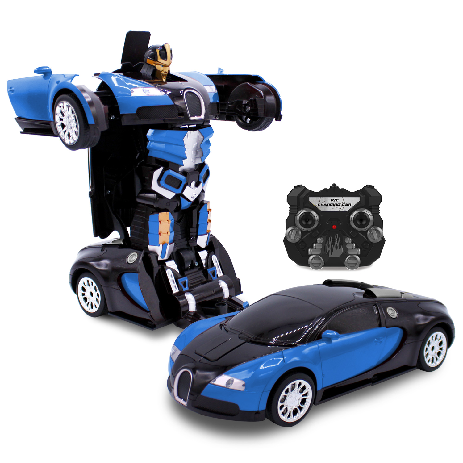 Kids RC Toy Car Transforming Robot Ice Avenger One Button Transformation Engine Sound Dance Mode 360 Spinning Speed Drifting 2 Band 2.4 GHz Remote Control RC Vehicle Toys for Children
