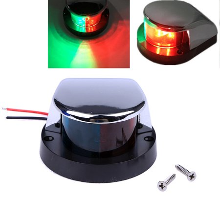 Led Bi Color Navigation Red Green Chrome Plated Housing Bow Light Bulb For Boats Marine 2 Mile