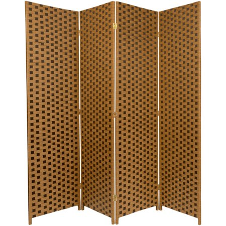 6' Tall Woven Fiber Room Divider, 2-Tone Brown
