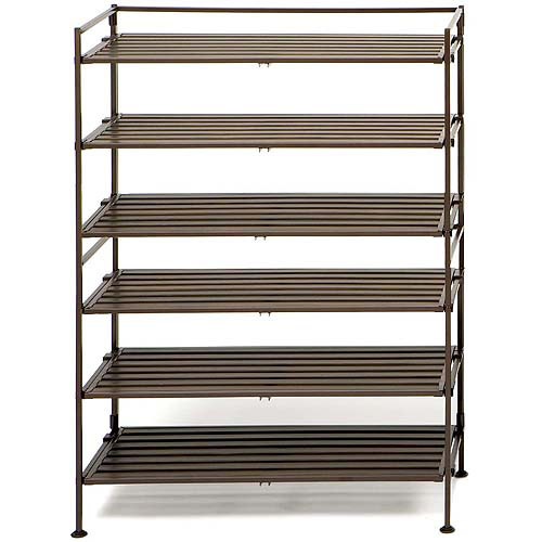 Seville Classics 3-Tier Resin Slat Utility Shoe Rack, Espresso (Set of 2)