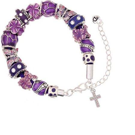 Silvertone Small AB Crystal Cross Purple Butterfly Bead Bracelet - Paracord Cross