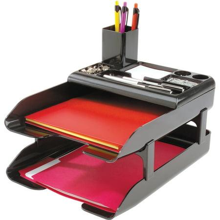 deflecto Corporate Desk Tray Set, Two Tier, Plastic, Metallic Black 3 Tier Desk Tray