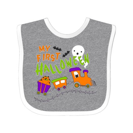 My First Halloween- train with pumpkins, bats, cat,and ghost Baby Bib Heather/White One Size - Babys First Halloween