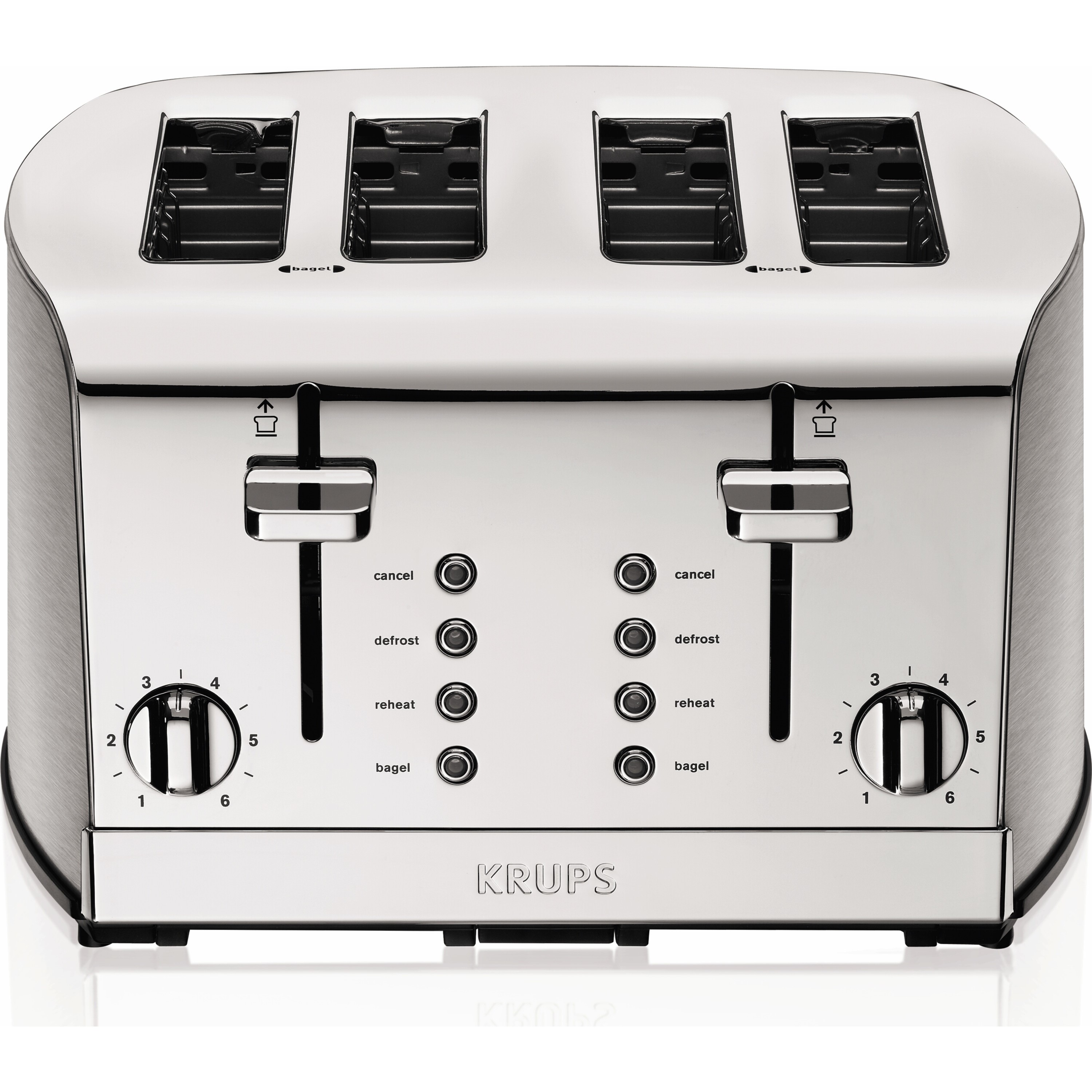 KRUPS 4-Slice Brushed and Chrome Stainless Steel Toaster
